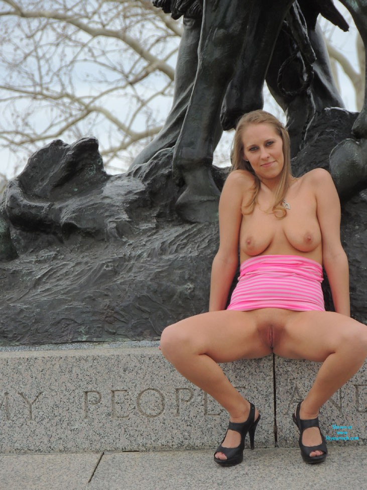 Pic #5 - Molly's Statue Pics - Big Tits, Public Place, Blonde, Pussy