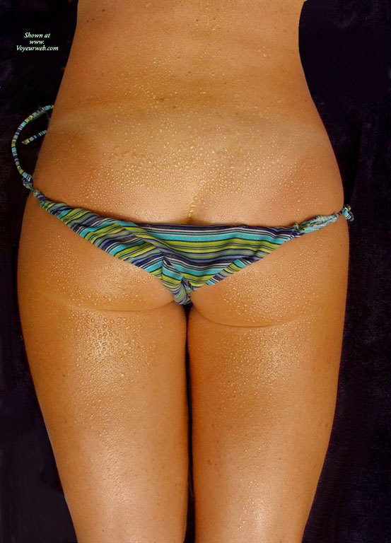 Pic #1 - Water Drop Covered Ass - Round Ass, Tan Lines , Nice Round Ass, Striped Bikini, Ass Bikini, Nice Butt, Dew On Ass, Rolles Striped Bikini, Blue Green Purple Tieside Bikini Bottoms, Wet Bikini, Light Tan Lines, Bikini Bottom