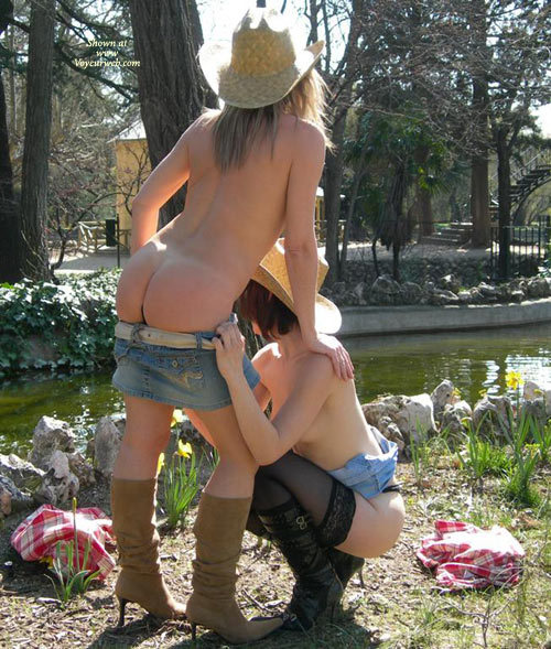 Pic #1 - Two Cowgirls Stripping - Stockings , Cowboy Boots, Denim Mini-skirts, High Heel Boots, Stripping Each Other, Two At A Time, Leaning On Another Girl, Straw Cowboy Hats, Kneeling In Public, Two Girls Posing In Public, Outdoor Cowgirl Twins, Cow Girls In A Park