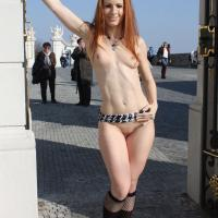 Vienna Flashing in Bratislava - Public Exhibitionist, Public Place, Shaved, Dressed, Redhead