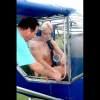 Public Flash In Small Airplane - Blonde Hair, Pierced Nipples