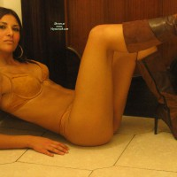 Lingerie And High Heel Boots - Brown Hair, Long Hair, Long Legs, Small Breasts