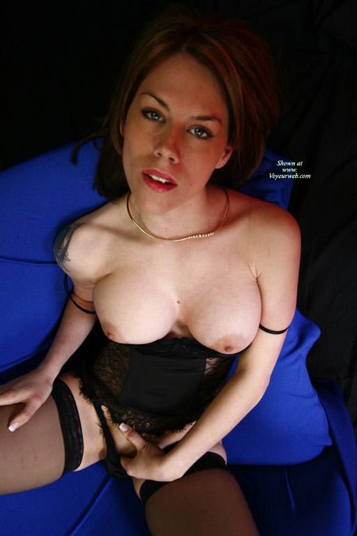 Pic #1 - Topless Girl Fingering Pussy - Large Aerolas, Stockings, Topless , Boobs Out And Fingering Clit, Girl Playing, Kicking Back, Fingering Pussy, Gold Necklace, Black Corset With Thong And Hose, Black Lingerie