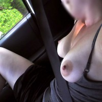 Areola Ann Rides With Tits Out