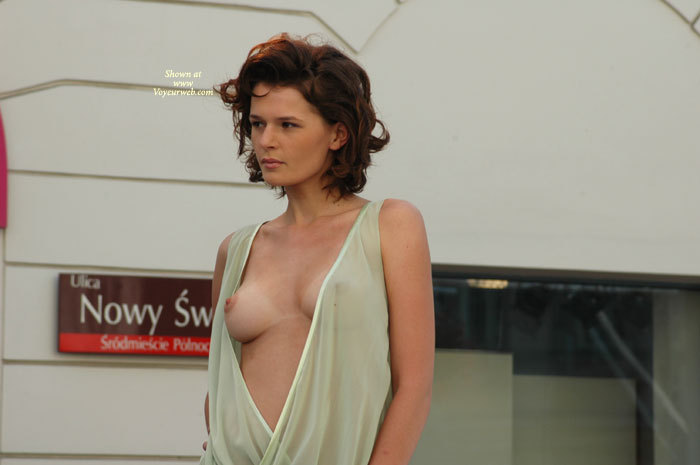 Pic #1 - Totally European Brown Haired Beauty - Brunette Hair, Perky Tits, Tan Lines, Sexy Face , Stunning Readhead, Peek-a-boo Breast, See Thru Dress Outside, Puffy Nipple, Brunette Hair, Pink Areolas