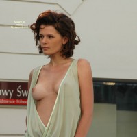 Totally European Brown Haired Beauty - Brunette Hair, Perky Tits, Tan Lines, Sexy Face , Stunning Readhead, Peek-a-boo Breast, See Thru Dress Outside, Puffy Nipple, Brunette Hair, Pink Areolas