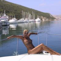 Nude on The Boat - Big Tits, Blonde Hair, Wet
