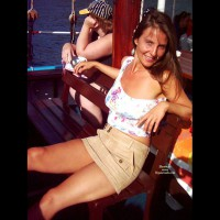 Upskirt And Topless On Boat