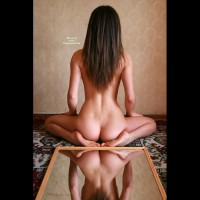 Reflections Of A Nice Ass - Brunette Hair, Long Hair, Round Ass, Sexy Ass, Sexy Feet , Sexy Pose, Naked Back, Naked On Carpet, Mirror Image, Yoga Pose, Bare Back, Sexy Body, Long Hair Brunette