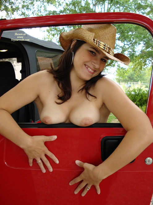 Pic #1 - Topless Cowgirl In Jeep - Big Tits, Black Hair, Brunette Hair, Large Aerolas, Long Hair, Topless , Squashed Tits, Squished Boobs, Boobs On Ledge, Cowboy Hat, Cowgirl Showing Her Boobs, Country Gal, Girl & Car