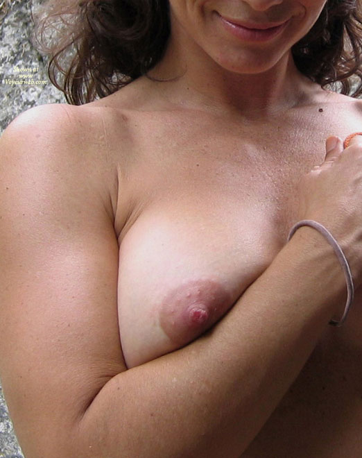 Pic #1 - Half Face And Right Breast Photo - Natural Tits , Squeeze My Tittie, Close Up Of Breast, Smiling At Camera, Excited Nipple, Erected Nipple, Nipple Peaking, Squishing Breast, Natural Breasts, Holding Tits, Auerole Bumps, Smile And Breast