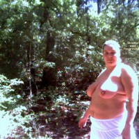 Wife Walking Nude In The State Park