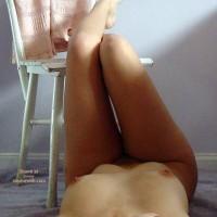 Legs Up On Chair - Black Hair, Hard Nipple, Long Legs