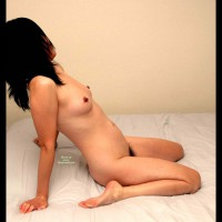 Profile View Sitting On Bed - Hard Nipple, Small Tits, Small Areolas