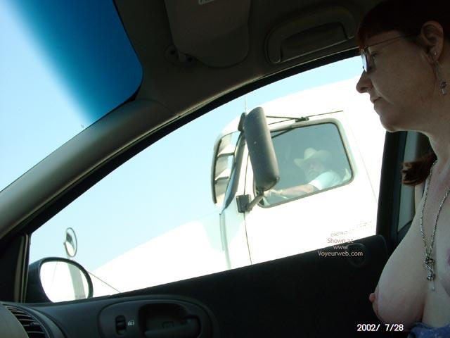 Pic #1 - Topless Codriver - Flashing Tits, Flashing, Necklace, Nude In Car , Topless Codriver, In A Car, Flashing Tits, Happy Truck Driver, Naked In Car, Trucker Boobs, Driving Flash, Necklace, Car Flashing, Truck Flashing