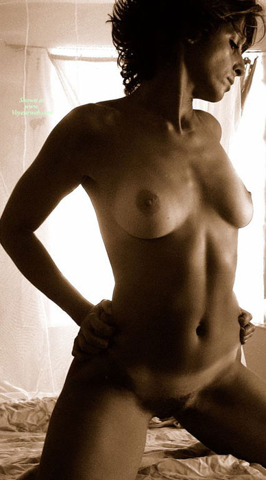 Pic #1 - Nude Milf In Sepia - Hairy Bush, Milf, Perky Tits, Tan Lines, Naked Girl, Nude Amateur , Tan Lined Tits, Breasts And Belly Exposed, Full Bush Kneeling, Shoulders Back, Athletic Body, Hands On Hips, Frontal Nude Kneeling On Bed, Curly Hair
