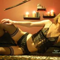 Wife In Black Lingerie - Small Breasts, Stockings, Looking At The Camera