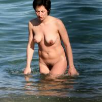 On Nude Beach From France - Beach, Bikini Voyeur, Ebony, Wet