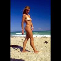 Blonde Nude Strolling Beach - Titties, Beach Voyeur