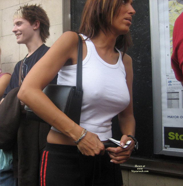 Pic #1 - Nipples Through Shirt - Hard Nipple , Sexy Clothed, Black Sweat Pants With Red Stripe, Braless White Tank Top, Perky Nipples, Form Fitting White Shirt, Public Show, Hot Nips In Public, Street Voyeur, White Tank Top, See Through