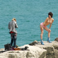 Seaside Posing For Photographer - Erect Nipples, Firm Tits, Long Legs, Topless
