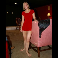 Blonde mature lady flashing