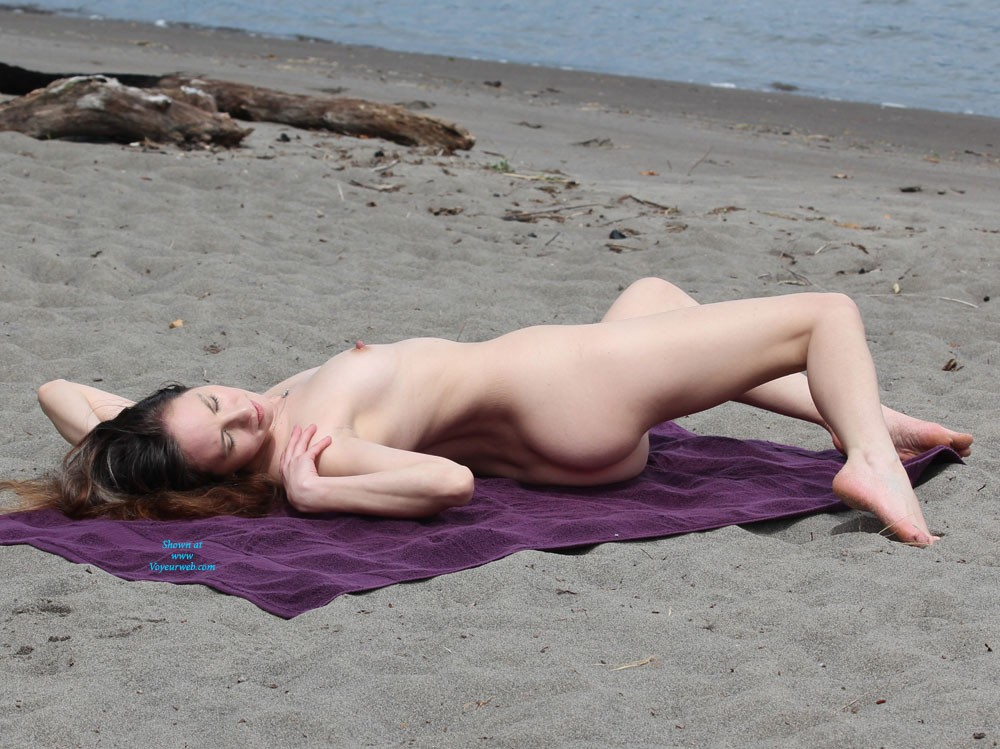 Pic #1 - Nude Beach Afternoon - Brunette Hair, Pussy Lips, Shaved, Beach Voyeur , Watched Her Spend The Whole Afternoon Wandering Around On The Beach