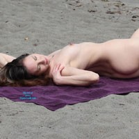 Nude Beach Afternoon - Brunette Hair, Pussy Lips, Shaved, Beach Voyeur , Watched Her Spend The Whole Afternoon Wandering Around On The Beach