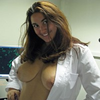 Topless Posing In A White Lab Coat - Big Tits, Brown Hair, Large Aerolas, Large Breasts, Long Hair, Topless, Naked Girl, Nude Amateur