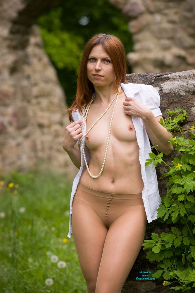 Pic #1 - Nylon Pantyhose - Nude In Public, Pussy Lips, Redhead, Shaved , HI All! Thanks For Your Comments To My First Contributions. I Decided To Have Another Try In My Pantyhose. Hope You Like It.