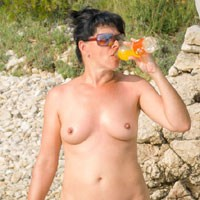Croatia - Brunette Hair, Nude In Public, Pussy Lips, Shaved, Beach Voyeur