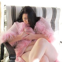 Kitten's Pink Boa Party - Big Tits, Brunette, Pussy, Shaved