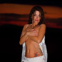 Outdoor Shoot/Water at Sunset - Beach, Lingerie, Redhead, See Through, Tattoos