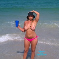 Slut On The Beach - Beach, Big Tits, Bikini Voyeur, Blonde, Natural Tits, Pussy, Shaved