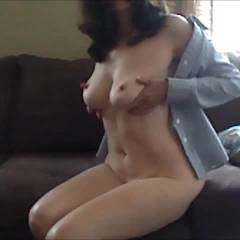Getting Juicy On The Sofa - Softcore, Masturbation, Brunette, Big Tits