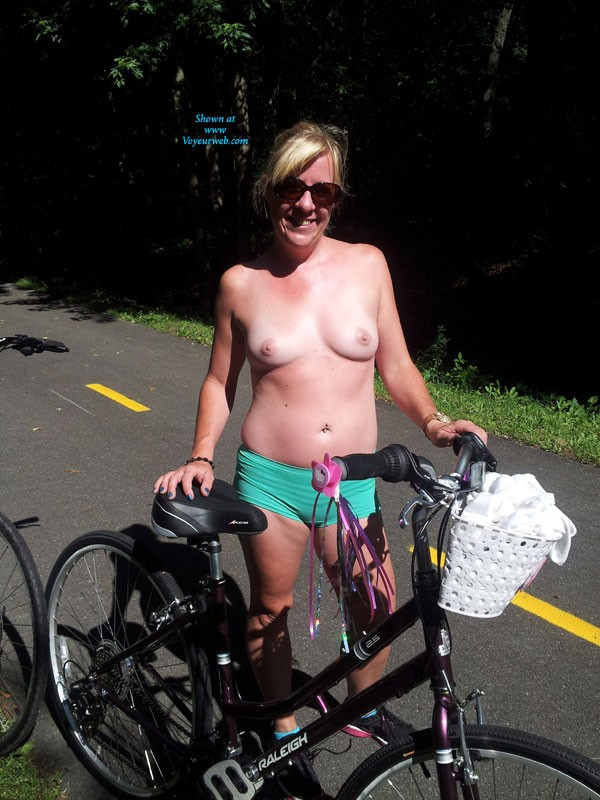 Pic #1 - Bike Ride With GG - Blonde Hair, Exposed In Public, Flashing, Natural Tits, Nude In Public, Pussy Lips