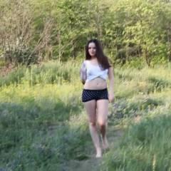 Adriana Outdoors - Brunette, Medium Tits, Nature, Outdoors, Wet