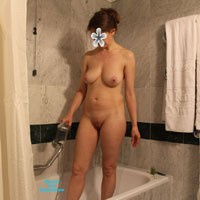In The Bathroom - Big Tits, Brunette, Natural Tits, Pussy, Shaved, Wet