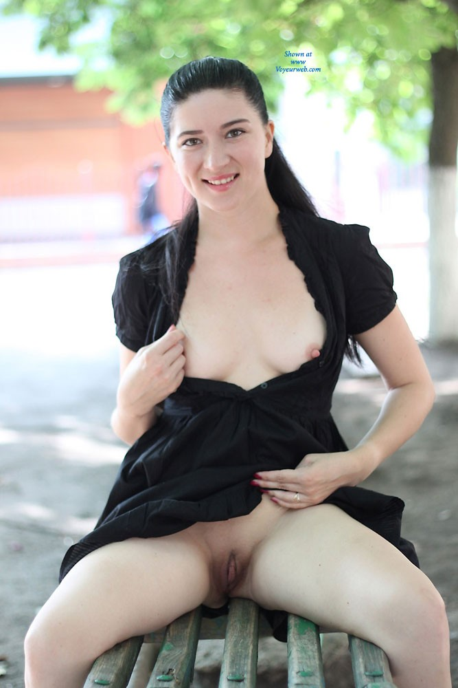 Pic #2 Milf Kiki in The City - Brunette, Flashing, Milf, Public Exhibitionist, Public Place, Dressed, Firm Ass, Hard Nipples, Medium Tits, Pussy, Shaved