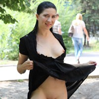 Milf Kiki in The City - Brunette, Flashing, MILF, Public Exhibitionist, Public Place, Dressed, Firm Ass, Hard Nipples, Medium Tits, Pussy, Shaved