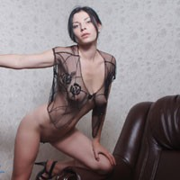 Vilena - Brunette Hair, Heels, Perfect Tits, Pussy Lips, Round Ass, Shaved, Sexy Ass, Sexy Lingerie
