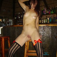 Fun in The Bar at Home - Brunette, Hard Nipples, Lingerie, Small Tits, Long Legs, Shaved, Costume, Natural Tits, Pussy