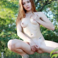 Vivienne in The Sun - Nude Outdoors, Perfect Tits, Redhead, Shaved