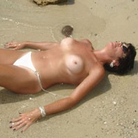Tanning The White Bits - Big Tits, Bikini, Brunette Hair, Perfect Tits, Pussy Lips, Wet, Beach Voyeur