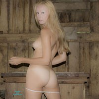 An Old Barn - Blonde Hair, Hard Nipple, Heels, Nude Outdoors, Perfect Tits, Pussy Lips, Shaved, Sexy Ass