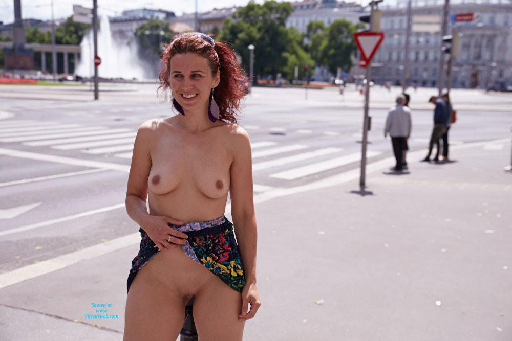 Lena Visit to Vienna - Exposed In Public, Flashing, Hard Nipple, Natural Tits, Nude In Public, Perfect Tits, Pussy Lips, Shaved , Hi,