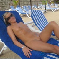 1st Time Posting Nude on The Beach - Beach, Blonde, Hard Nipples, Pussy, Shaved, Small Tits