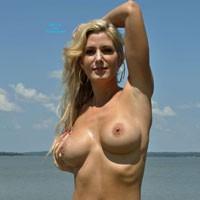 Skimpy Black Bikini at The Beach - Beach, Big Tits, Bikini Voyeur, Blonde, Long Legs