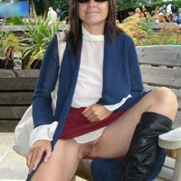 Anne - Brunette Hair, Exposed In Public, Hard Nipple, Nude In Public, See Through, Shaved , See Through Blouse And No Knickers At The Garden Centre