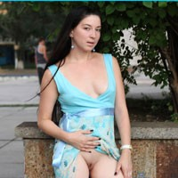 Milf Kiki - Shaved, Public Place, Public Exhibitionist, Hard Nipples, Flashing, Brunette, Dressed, Medium Tits, Pussy